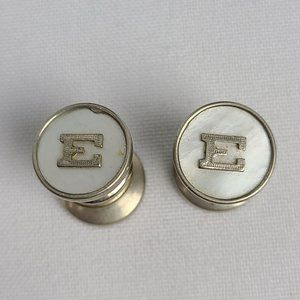 Initial E Mother Of Pearl Cuff Links